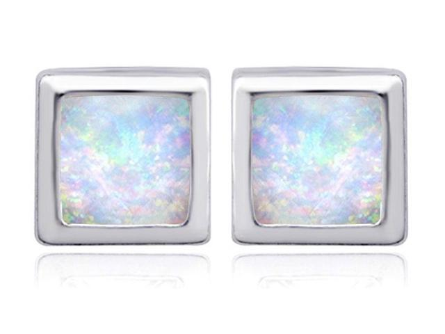Star K 8mm Square Cut Simulated Opal Earrings Studs in Sterling Silver