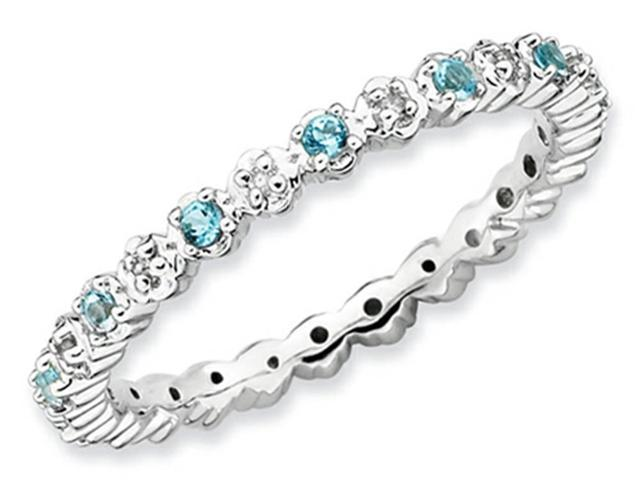 Stackable Expressions Sterling Silver Blue Topaz and Diamond Stackable Ring Size 7