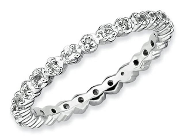 Stackable Expressions Sterling Silver White Topaz and Diamond Stackable Ring Size 7