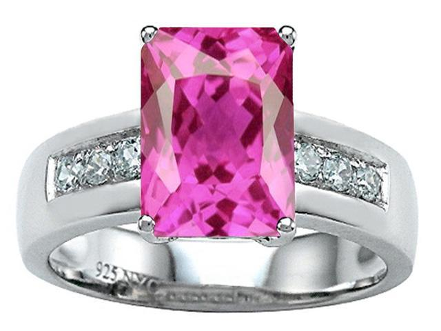 Star K Classic Octagon Emerald Cut 9x7 Ring with Created Pink Sapphire in Sterling Silver Size 7