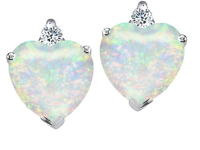 Star K 7mm Heart Shape Simulated Opal Earrings in Sterling Silver