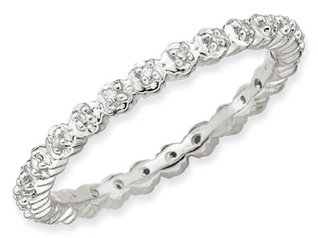 Stackable Expressions Sterling Silver Diamond Stackable Ring Size 6