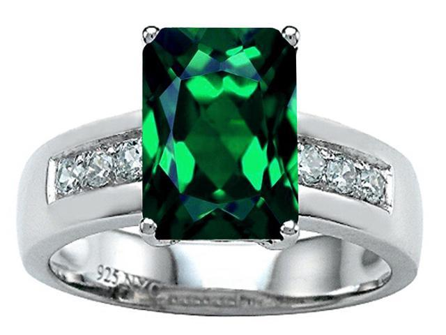 Star K Classic Octagon Emerald Cut 9x7 Ring with Simulated Emerald in Sterling Silver Size 6