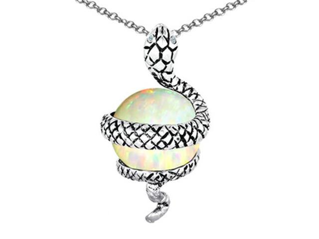 Star K Large Snake Pendant with 10mm Simulated Opal Ball in Sterling Silver