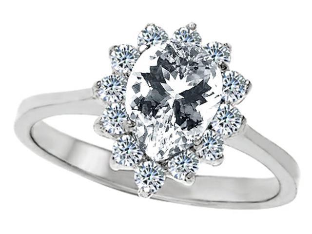 Star K 8x6mm Pear Shape Genuine White Topaz Ring in Sterling Silver Size 7