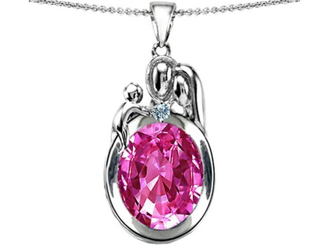 Star K Loving Mother and Father with Child Pendant with Oval 11x9mm Created Pink Sapphire in Sterling Silver