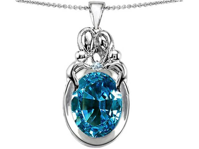 Star K Large Loving Mother Twin Family Pendant Necklace with Oval 11x9mm Simulated Blue Topaz in Sterling Silver