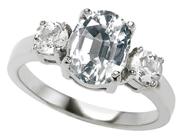 Star K 9x7mm Oval Genuine White Topaz Ring in Sterling Silver Size 7