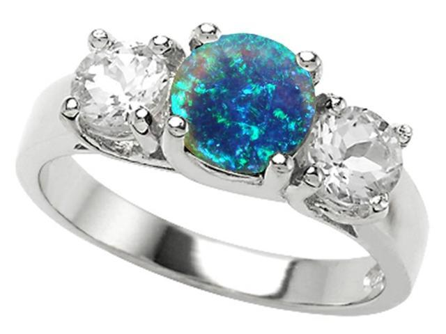 Star K 7mm Round Simulated Blue Opal Ring in Sterling Silver Size 5