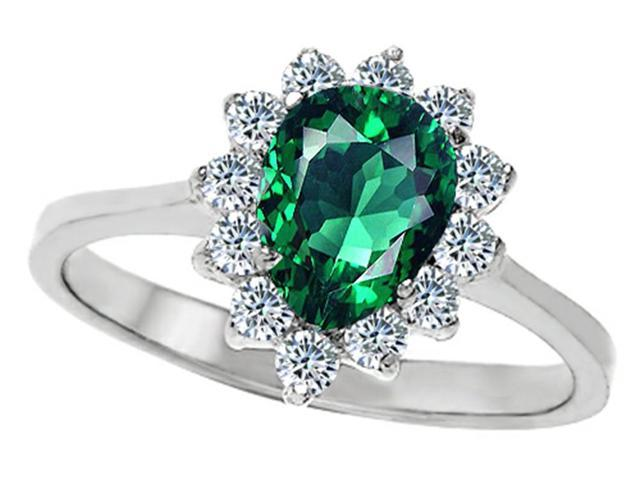 Star K 8x6mm Pear Shape Simulated Emerald Ring in Sterling Silver Size 5
