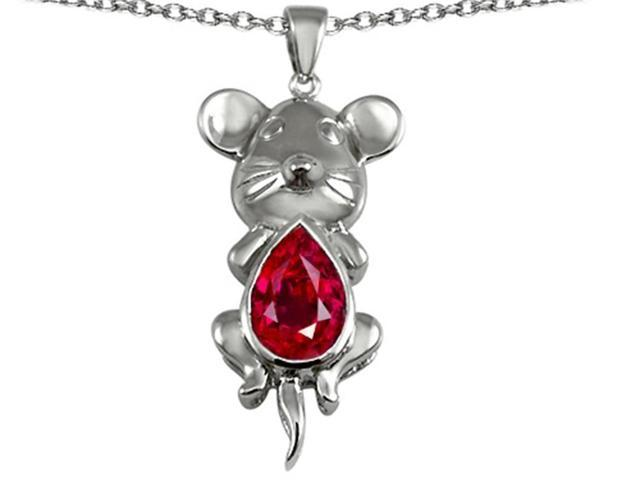 Star K Large Mouse Pendant with 11x9mm Pear Shape Created Ruby in Sterling Silver