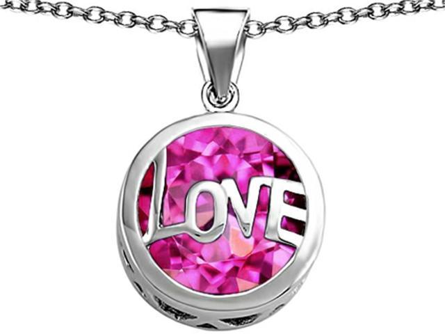 Star K Large Love Round Pendant with 15mm Round Created Pink Sapphire in Sterling Silver