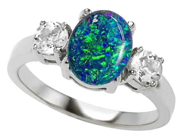 Star K 9x7mm Oval Simulated Blue Opal Ring in Sterling Silver Size 6
