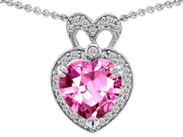 Star K Heart Shape Created Pink Sapphire and Cubic Zirconia Pendant in Sterling Silver