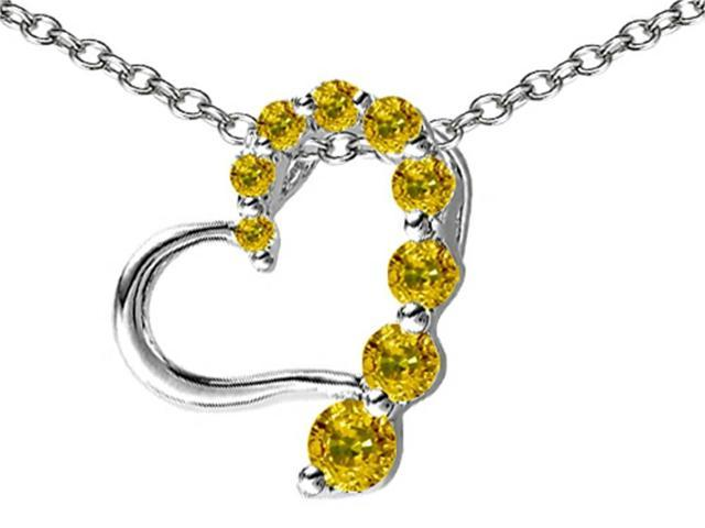Star K Journey of Love Heart Pendant with Round Simulated Imperial Yellow Topaz in Sterling Silver