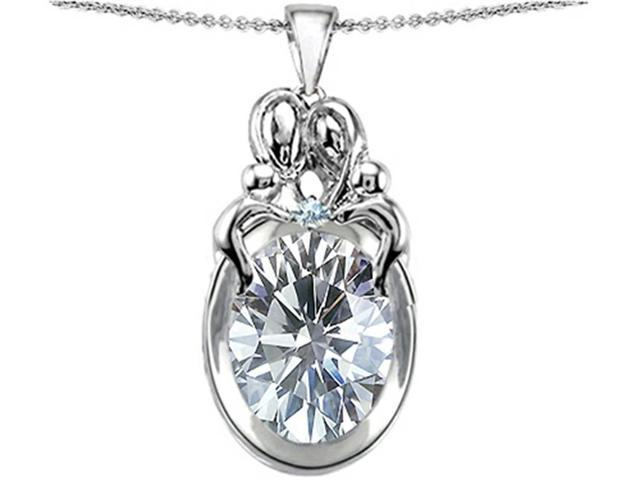Star K Loving Mother and Family Pendant with Oval 11x9mm Genuine White Topaz in Sterling Silver