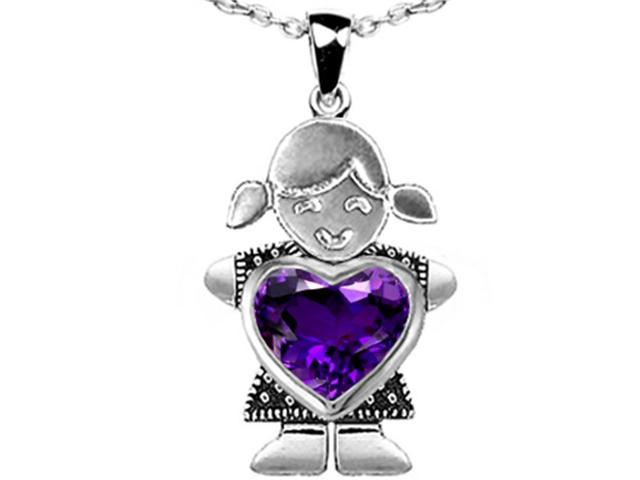 Star K Girl Holding 8mm Mother Heart February Birth Month Pendant Necklace with Simulated Amethyst in Sterling Silver