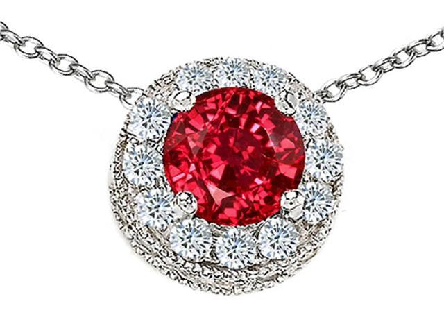 Star K Round 6mm Created Ruby Halo Pendant Necklace in Sterling Silver