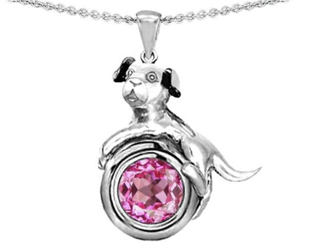 Star K Dog Lover Pendant with September Birth Month Round 7mm Created Pink Sapphire in Sterling Silver