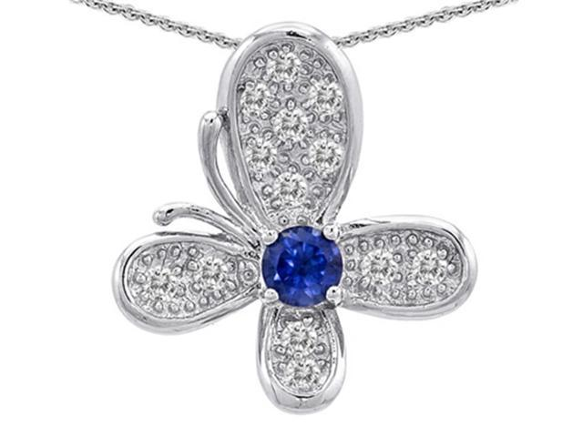 Star K Butterfly Pendant with Round Created Sapphire in Sterling Silver