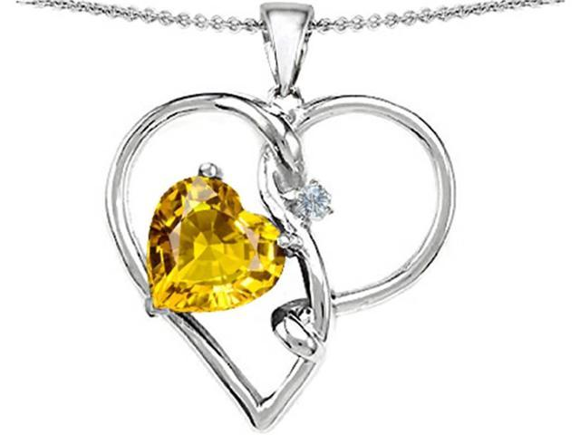 Star K Large 10mm Heart Shaped Simulated Yellow Sapphire Knotted Pendant Necklace in Sterling Silver