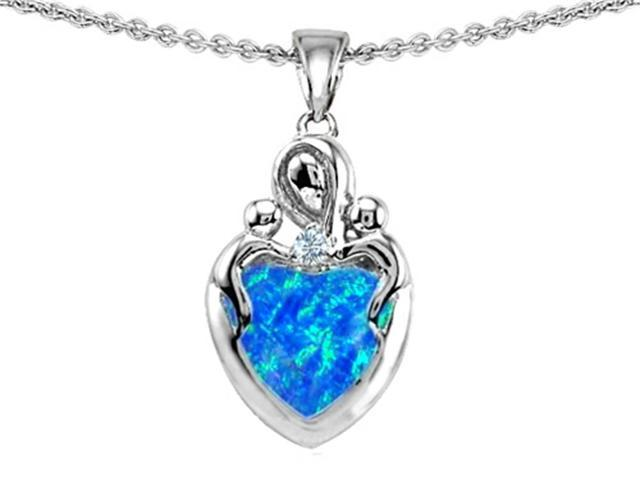 Star K Loving Mother Twin Children Pendant with Heart Shape 8mm Simulated Blue Opal in Sterling Silver