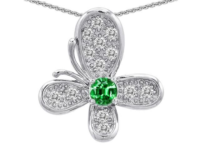 Star K Butterfly Pendant with Round Simulated Emerald in Sterling Silver