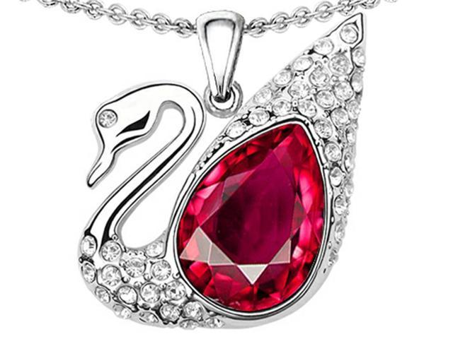 Star K Love Swan Pendant with Pear Shape Created Ruby in Sterling Silver