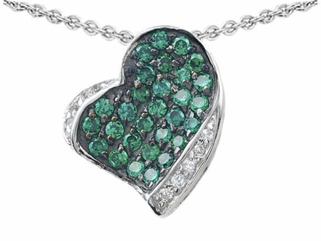 Star K Heart Shape Love Pendant with Simulated Emerald in Sterling Silver