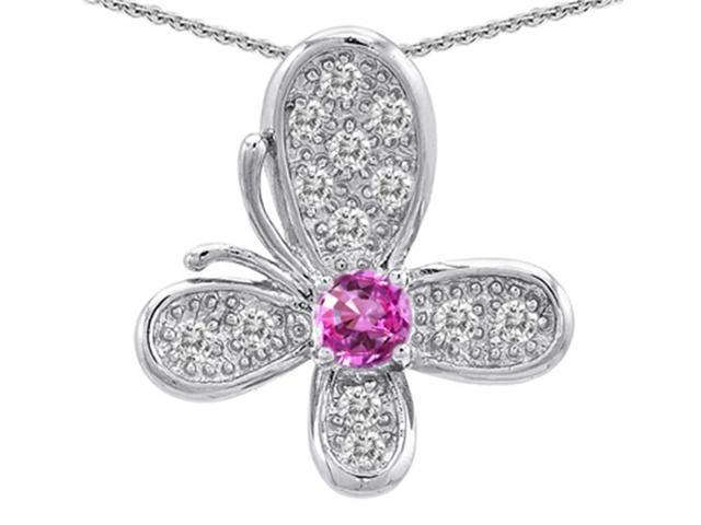 Star K Butterfly Pendant with Round Created Pink Sapphire in Sterling Silver