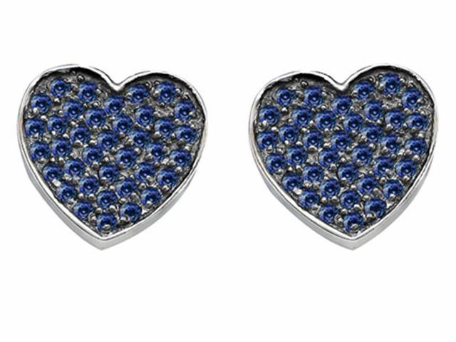 Star K Heart Shape Love Earrings with Created Sapphire in Sterling Silver
