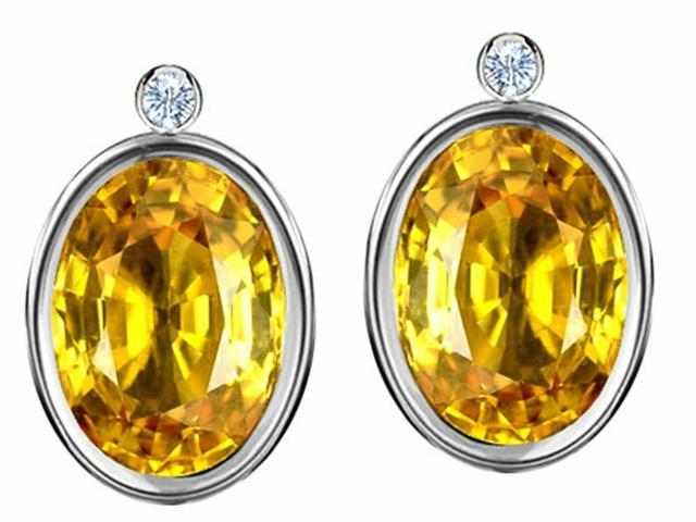 Star K Oval Genuine Citrine Earrings Studs with High Post On Back in Sterling Silver