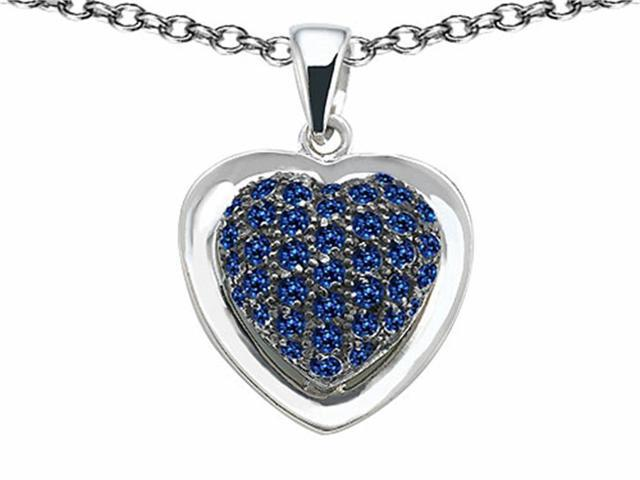 Star K Heart Shape Love Pendant with Created Sapphire in Sterling Silver