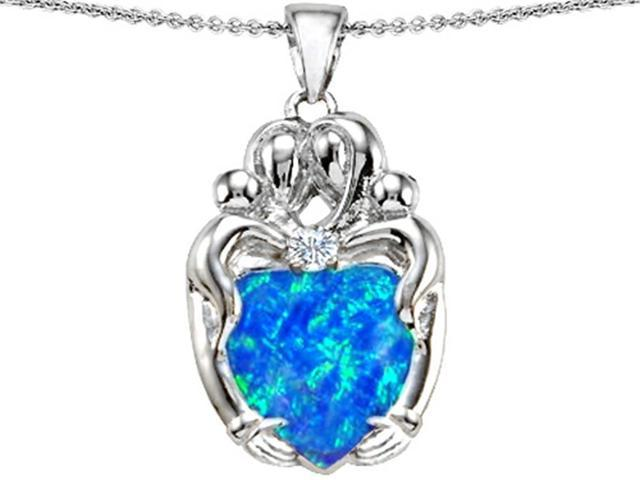 Star K Large Loving Mother Twins Family Pendant with 12mm Heart Shape Simulated Blue Opal in Sterling Silver
