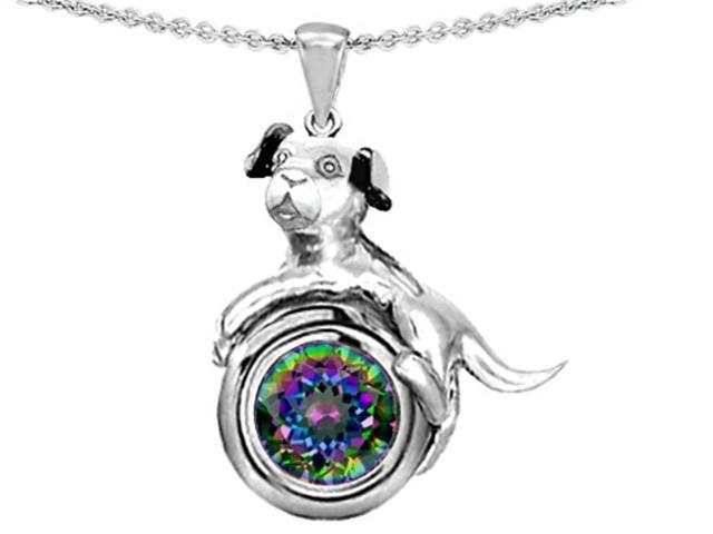 Star K Dog Lover Pendant with Round 7mm Mystic Rainbow Topaz in Sterling Silver