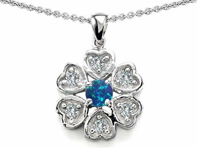 Star K Flower Pendant with Round 4mm Simulated Blue Opal in Sterling Silver