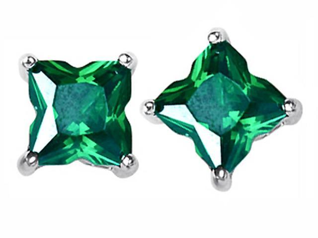 Star K Fancy Cut Star Shape Earrings Studs with Simulated Emerald in Sterling Silver