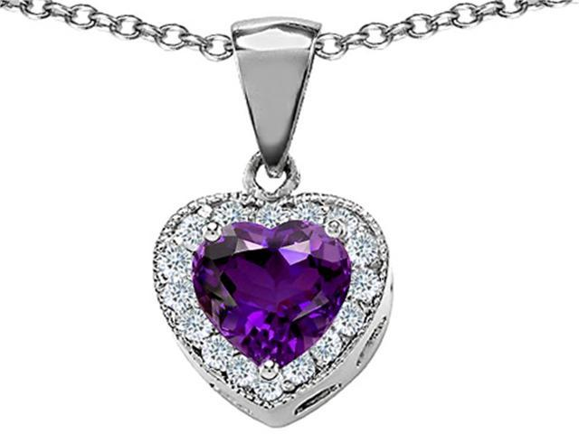Star K 8mm Heart Shape Simulated Amethyst Love Pendant in Sterling Silver