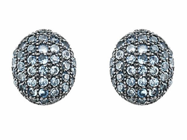 Star K Oval Puffed Earrings with Simulated Aquamarine in Sterling Silver