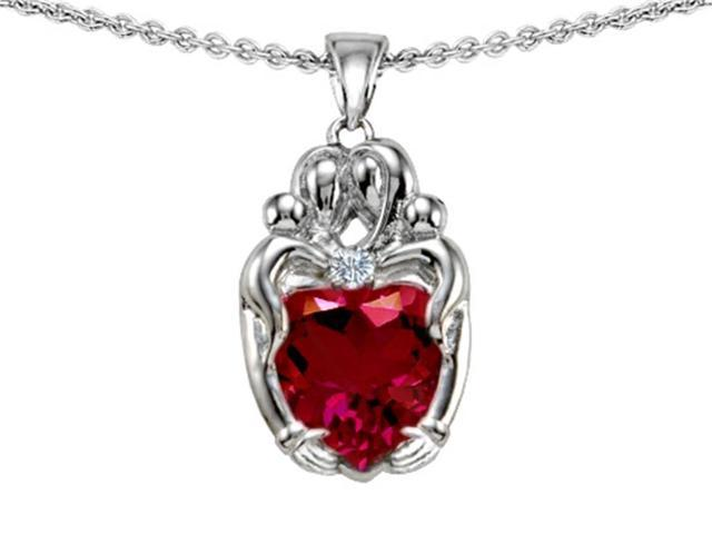 Star K Loving Mother and Twins Family Pendant Necklace with 8mm Heart Shape Created Ruby in Sterling Silver