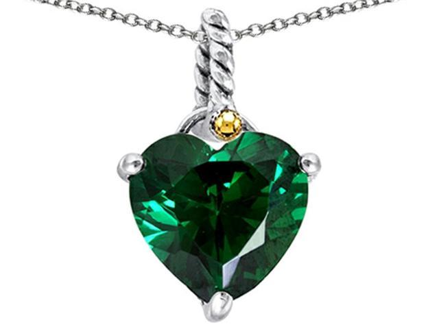Star K Rope Heart Pendant Necklace with 10mm Heart Shape Simulated Emerald in Sterling Silver