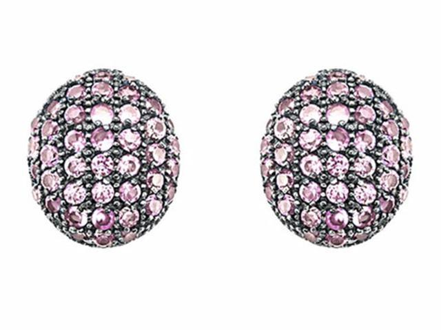 Star K Oval Puffed Earrings with Created Pink Sapphire in Sterling Silver