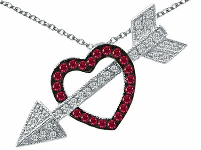 Star K Created Ruby Heart with Love Arrow Pendant in Sterling Silver