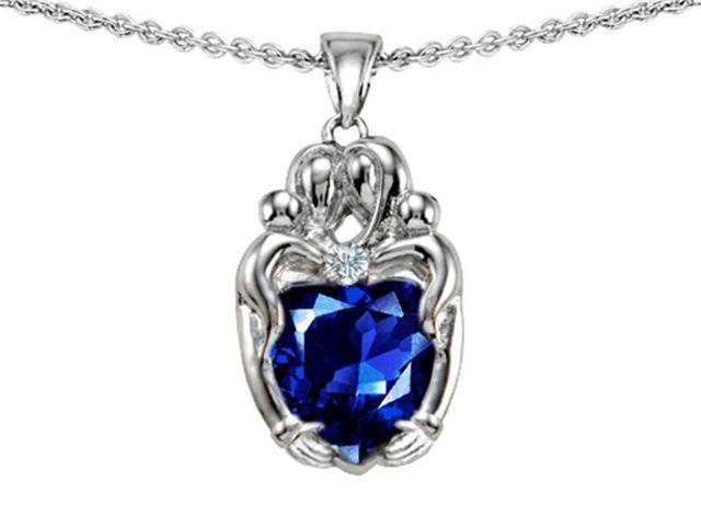 Star K Loving Mother and Twins Family Pendant with Heart Shape Created Sapphire in Sterling Silver