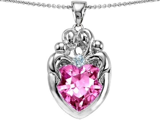 Star K Large Loving Mother Twin Family Pendant with 12mm Heart Created Pink Sapphire in Sterling Silver