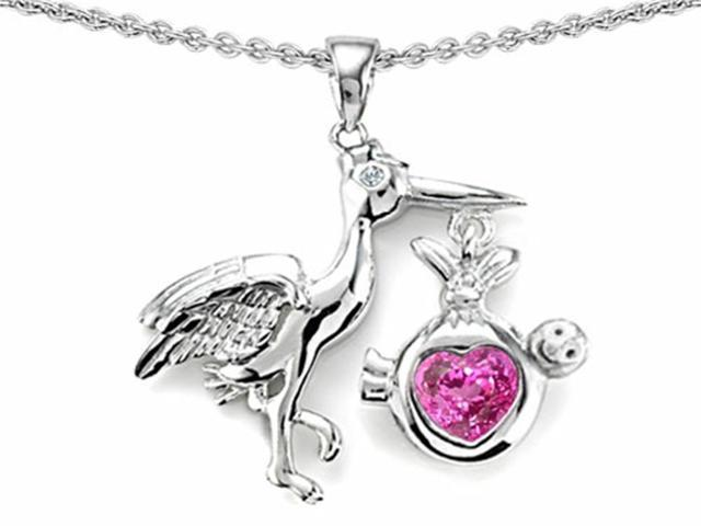 Star K Baby Stork Mother Pendant with Heart Shape Created Pink Sapphire in Sterling Silver