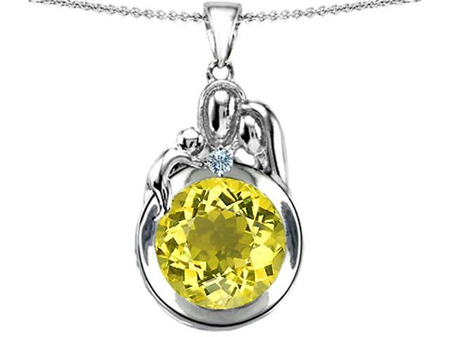 Star K Loving Mother and Father with Child Family Pendant with Round 10mm Simulated Yellow Sapphire in Sterling Silver