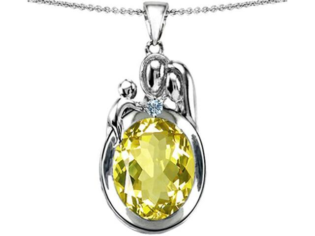 Star K Loving Mother and Father with Child Pendant Necklace with Oval 11x9mm Simulated Yellow Sapphire Sterling Silver