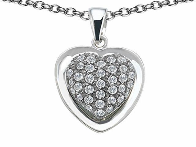 Star K Heart Shape Love Pendant Necklace with Cubic Zirconia in Sterling Silver