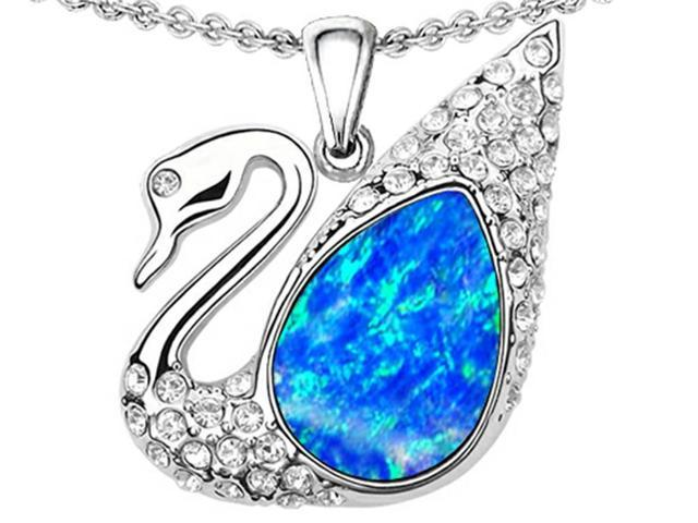 Star K Love Swan Pendant with Pear Shape Simulated Blue Opal in Sterling Silver
